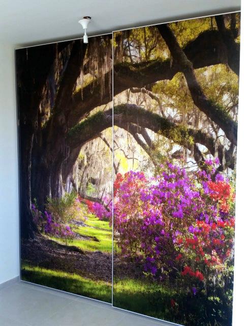 ארון בהתאמה אישית דלתות הזזה עם הדפסת תמונה